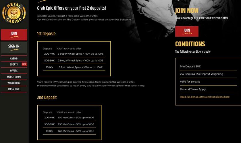casinoveteran metal casino bonus fi