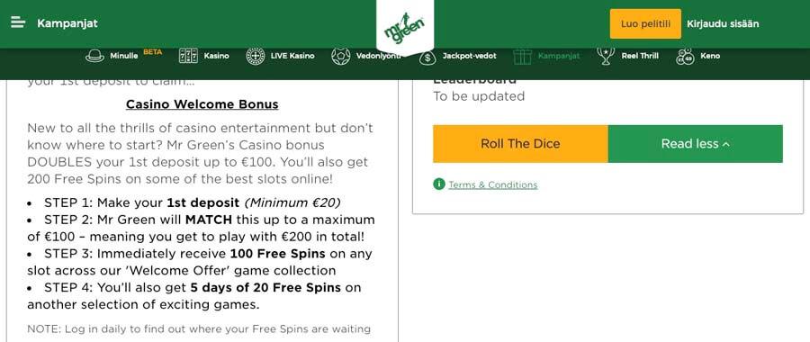 casinoveteran mrgreen casino bonus fi
